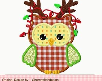 Christmas owl 2 -Applique -4x4 5x7 -Machine Embroidery Applique Design