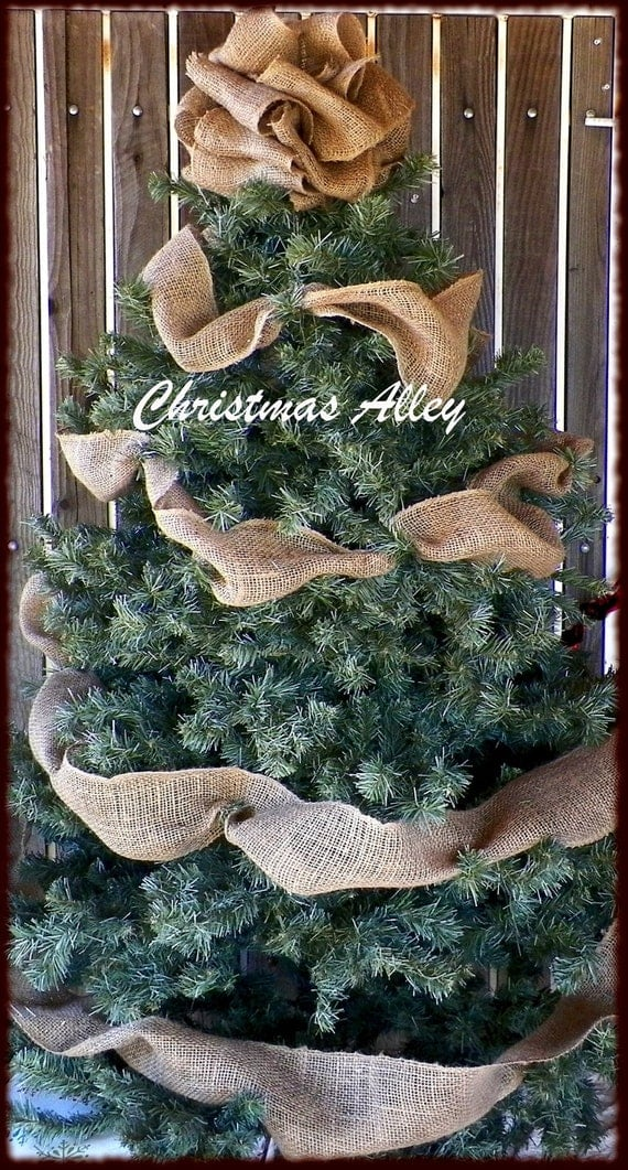 Burlap christmas tree topper burlap tree by christmasalley for Burlap ribbon on tree