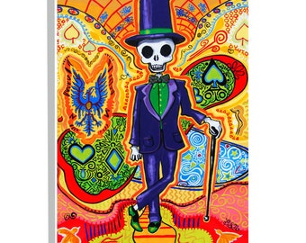 Trippy Art Gothic Home decor Masonic Skeleton poster Day of the Dead Groom Best Man gift for him Psychedelic Art print