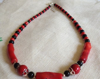Beautiful Red Coral and Black Onyx Necklace Georgia Bulldogs Colors