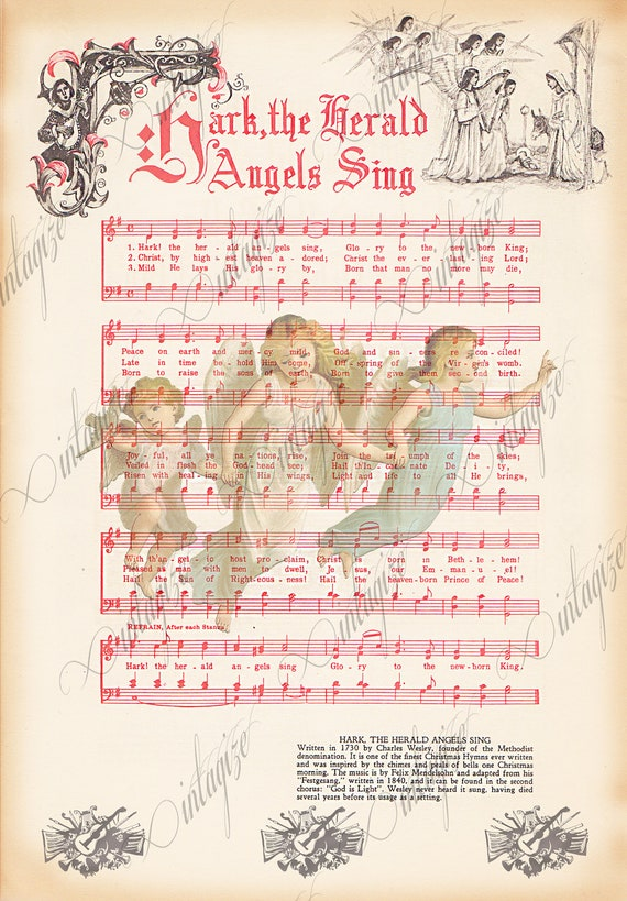 Items similar to Hark the Herald, Angels Sing Printable Vintage Christmas Sheet Music- INSTANT ...