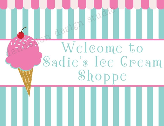 PRINTABLE Welcome Sign - Ice Cream Shoppe Party Collection - Dandelion Design Studio