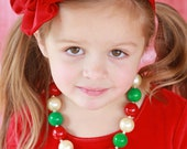Christmas Chunky Beaded Necklace with Green, Red & Pearl