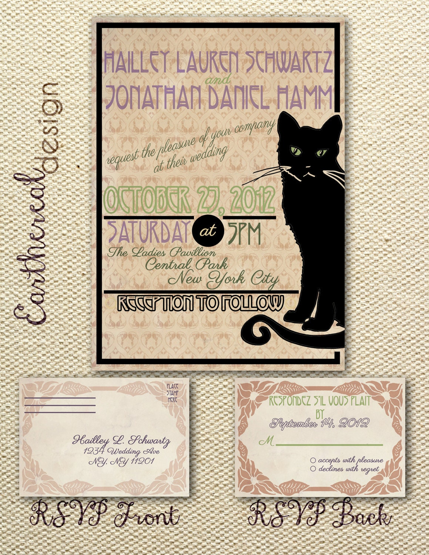 French Art Nouveau Cat Wedding Invitation