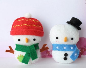 PDF Pattern - Felt Snowman Christmas Ornament