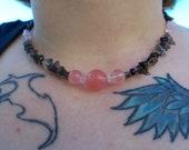 Smoky Quartz and Rose Quartz Necklace For Men or Women