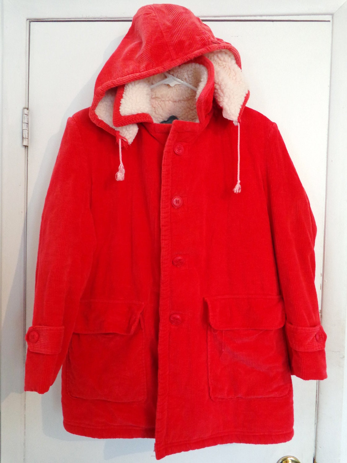 Red Corduroy Pea Coat Women S Large X Large Hooded Button