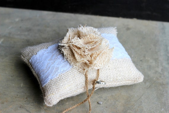 Burlap Wedding Ring Bearer Pillow- Lace-  Tan Burlap- Fabric Flower- Wedding- Shabby Chic- Rustic- Ring Bearer Cushion- Fall wedding- Winter
