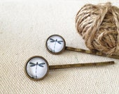 Bobby Pin - Dragonfly 2- Retro, Handmade, 12mm Glass Cabochons, Hair Clips, Vintage Bronze, Gift for Her, Bridesmaids, Girlfriend