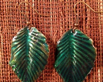 Enamel Aqua Blue Green Leaf Earrings