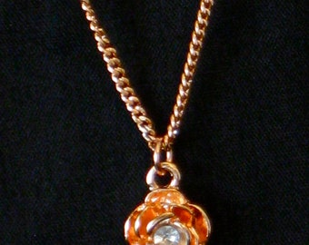 Rose Gold and Rhinestone Rose Necklace