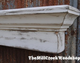 Distressed Wall Shelf 48 Inches Crown Molding Floating Ledge Mantle