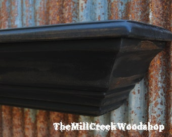 """Wall Shelf 36"""" Rustic Farmhouse Crown Molding Ledge Distressed Wood Mantle Fireplace Mantel Floating Barn Shelves Wooden Home Decor"""