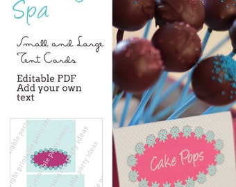 Pacific Beauty Spa Tent Cards - editable PDF - add your own text