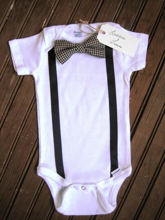 Short Sleeve Necktie or Bow Tie Onesie with Suspenders, Suspender Onesie, Bow Tie Onesie, Baby Suspenders, Baby Bowtie Onesie, Bowtie Onesie