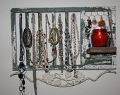 Jewelry / Scarf Display, Storage and Organization Upcycled from Vintage Pigeon Coop Door-Light