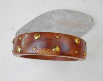 Vintage wood brass studded bangle bracelet 1980s vintage