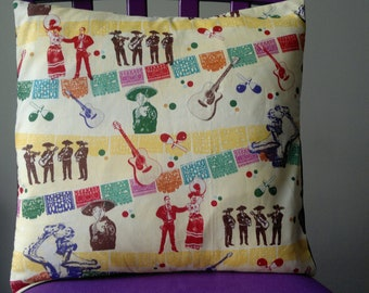 Handmade cushion cover made from mexican fabric, mariachi band,christmas