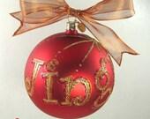 """Jingle Hand Painted and Glitter Glass Ornament - Jody Designs - 4"""" glass ball - Jingle"""