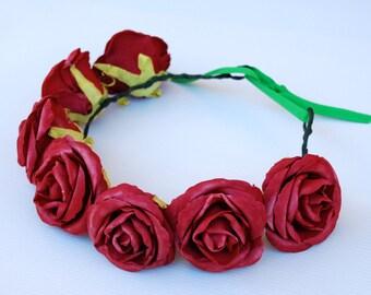 THE VINTAGE: Large red rose crown (adjustable)