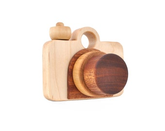 Wooden Toy Camera - Eco-friendly Imagination Toy - Pretend Play for a Baby, Toddler, or a Preschooler - Model B