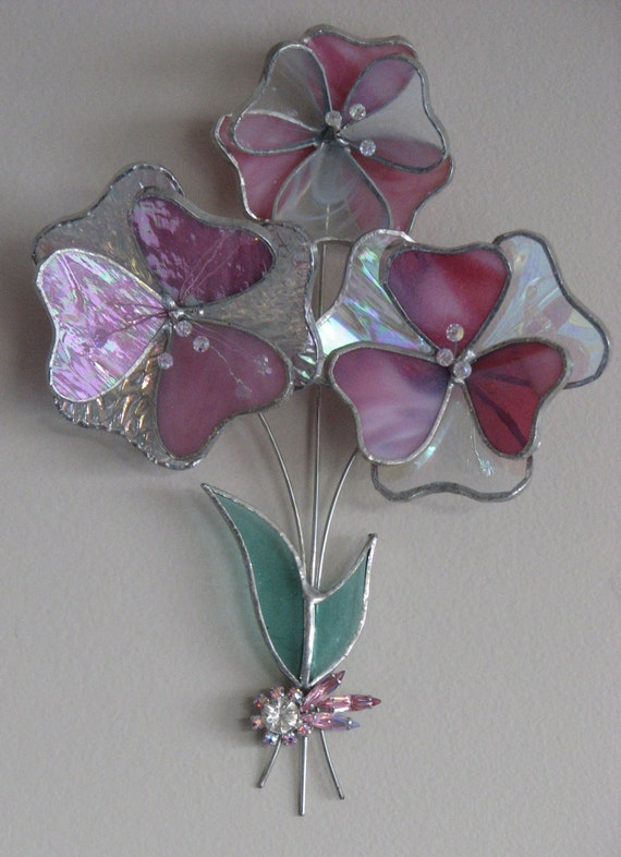 3d Stained Glass Wall Art Pink Flowers