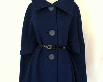 Navy Mod Vintage 50s 60s Oversized Collar WOOL Dress Swing Cape Coat Jacket -capelet full swing with oversized buttons