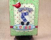Merry Christmas Card, handmade Greeting Card