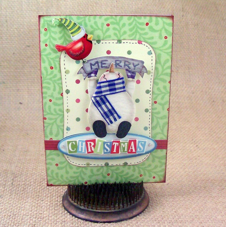 merry christmas card handmade greeting card