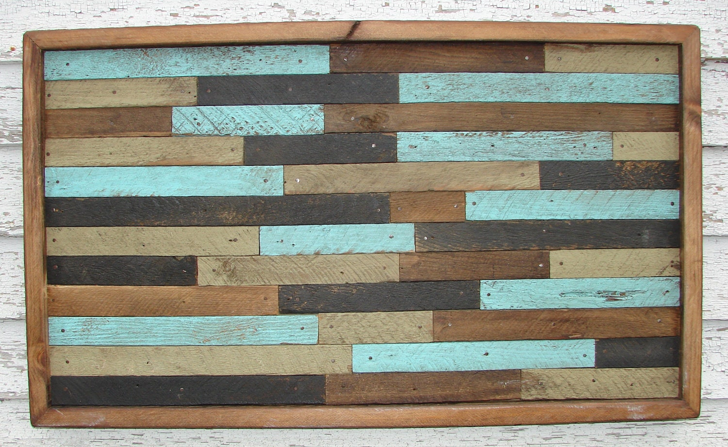 Large Pottery Barn Style Inspired Reclaimed Wood Wall Art