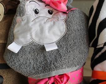 Girl Hippo Hooded Towel
