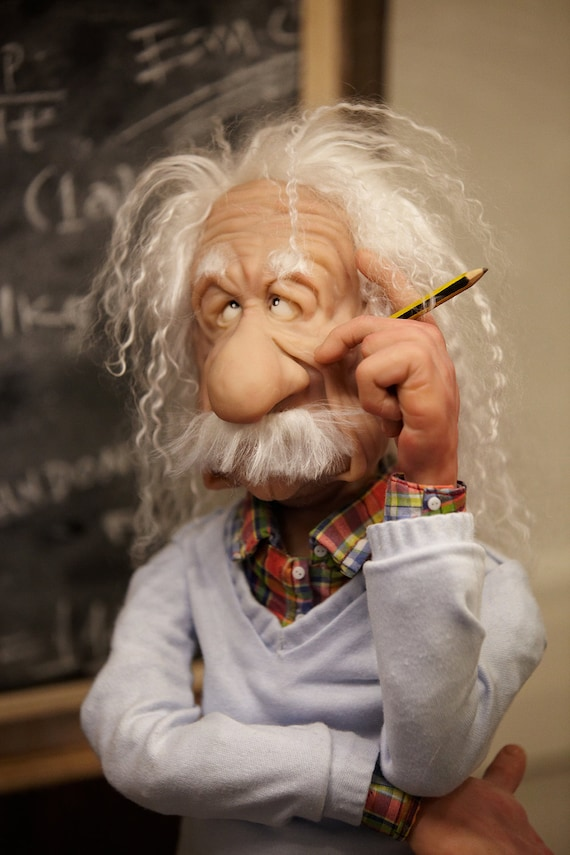 OOAK Polymer clay Art Doll -  Einstein (inc. Display Case)