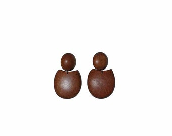 70s tribal boho wooden drop earrings