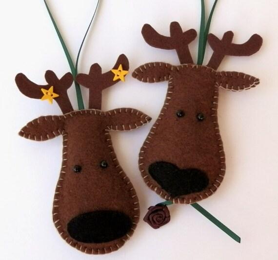 Items Similar To Reindeer Felt Christmas Tree Ornaments