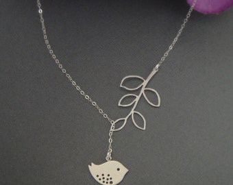 Detailed Bird and Branch Lariat Necklace in STERLING SILVER CHAIN--Adorable Necklace-Perfect Gift for mom for friends, Birthday Present