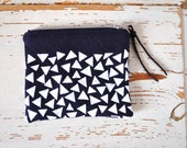 Small Coin Pouch - Navy Blue and White Triangles - Handprinted Cotton Purse