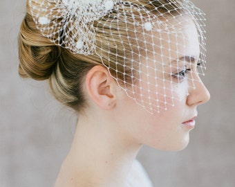 "Bridal Birdcage Wedding, French Netting Headpiece - ""Tita"""