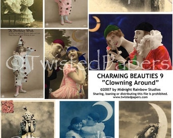 French PHOTO POSTCARDS Vintage Women, Men & Girls, Clowns and Pierrots, Digital Collage Sheet Charming Beauties 009