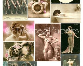 10 VintageSemi Nude Women, Sexy and  RISQUE French Postcards, Old Photos, Digital Collage Sheet 003