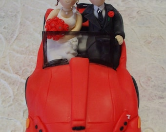 custom bride and groom car wedding cake topper