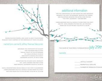 "Modern ""Rachel"" Wedding Invitation Suite - Floral Branch Invite - Personalized DIY Digital Printable or Printed Invitations"
