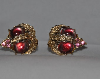 Vintage Coro Clipback Rhinestone Earrings