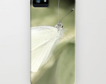 iPhone Case - 5 4 4s 3g 3gs - White Butterfly - White - Elegant - Beauty - Fiminine - Green - Nature