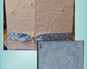 Embossing Folder - 3 Snowman - for Christmas and Holiday cards / scrapbook pages - Darice 1215-57