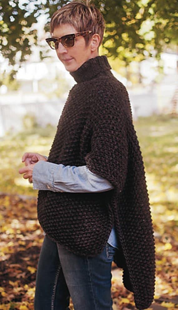Knitting Pattern For Blanket Poncho : Blanket Poncho PDF KNITTING PATTERN