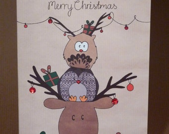 Owl and friends Christmas Card