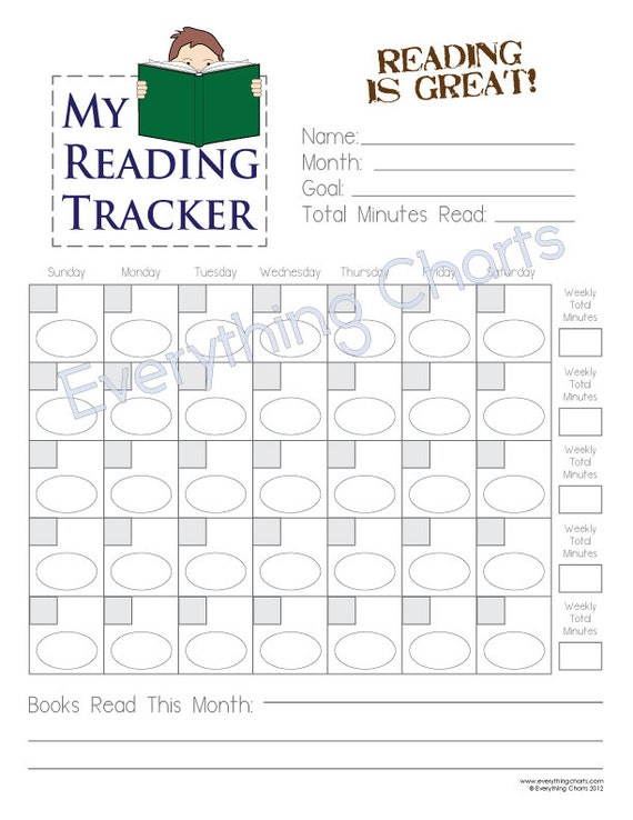 Weekly Reading Calendar : Reading chart for boys pdf file printable etsy
