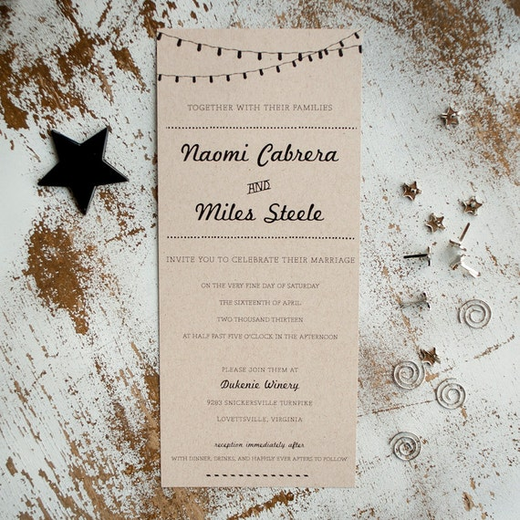 Kraft Wedding Invitation, Wedding Invitation, Rustic Wedding Invitation, Wedding Invites, rustic kraft with lights, unique - The Retro Kraft