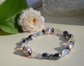 Rose and Grey Bracelet