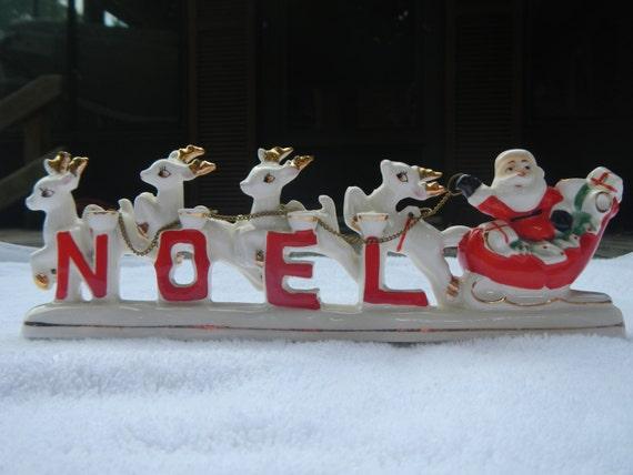 Vintage Noel Santa Reindeer Sleigh Candle Holders Christmas